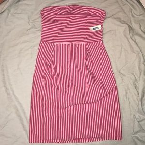 Old Navy pink and white striped strapless dress